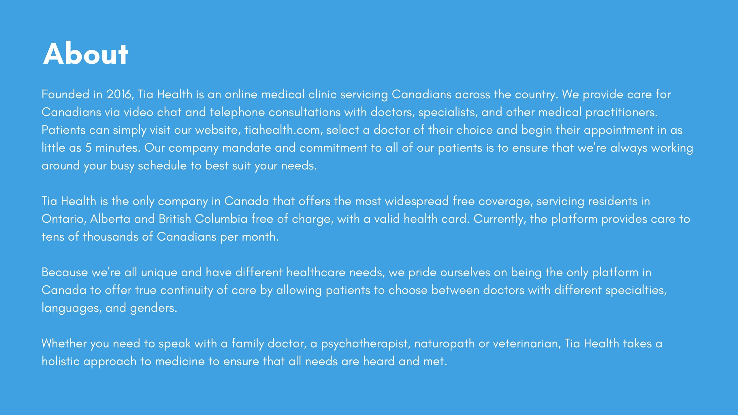 tia health is a online medical clinic servicing Canadians across Canada.